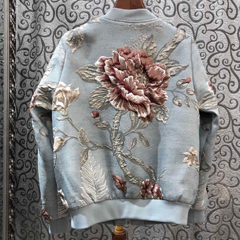 2019 Осенняя модная женская куртка высокого качества, ручная работа, вышивка бисером, винтажный жаккардовый цветочный принт, длинный рукав, Повседневная Синяя Куртка - 2