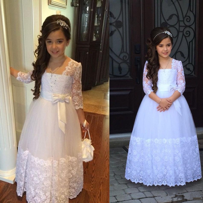 Flower Girls Dresses For Weddings Stunning 3/4 Sleeves Appliques Lace Tulle Junior Floor Length First Communion Dresses