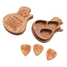 Guitar Pick Box Wooden Guitar Pick Storage Case with 3 Picks for Bass Pack Jazz Guitar Accessories цена