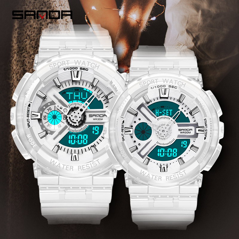 SANDA Fashion New Couple Watch Life Waterproof Electronic Watch For Male Female Students Sports Transparent Strap 298&892
