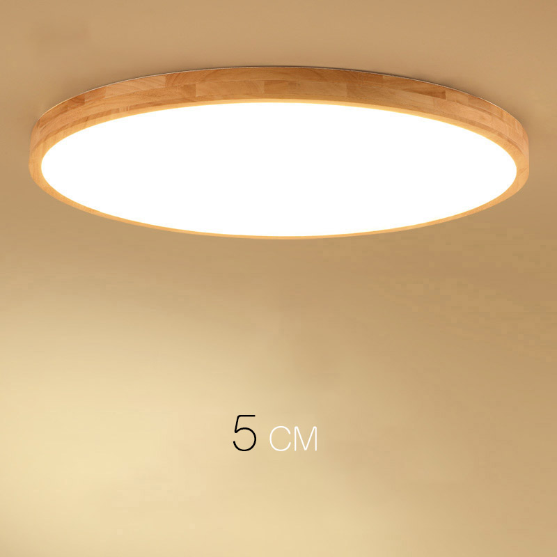 Log LED Ultra-thin Solid Wood Ceiling Lamp Bedroom Lamp Round Simple Nordic Style Balcony Japanese Lamps