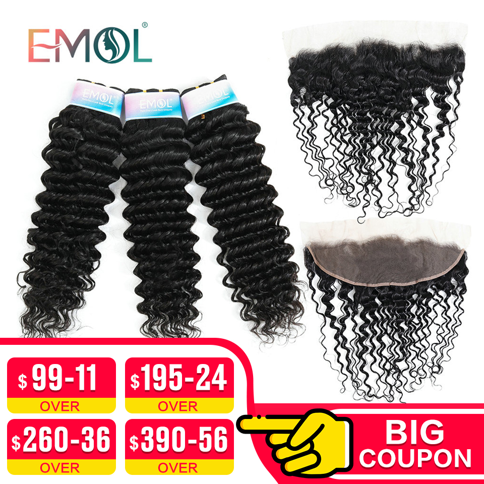 Emol Deep Wave Bundles With Frontal 13*4  Malaysian Hair Bundles With Closure Human Hair With Closure Non-Remy