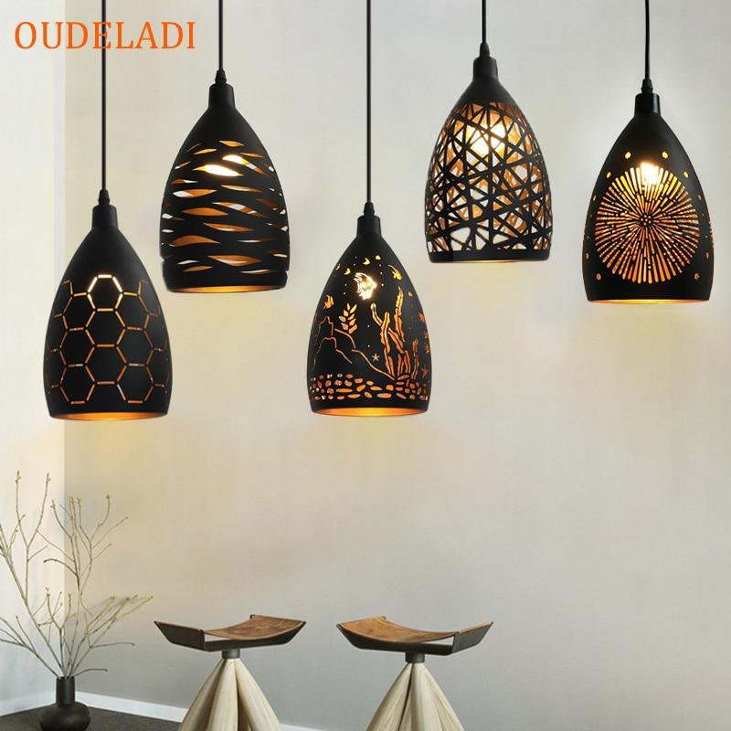 Modern LED pendant light iron Hollow metal cage pendant lamp living room restaurant shop bar fixture decoration