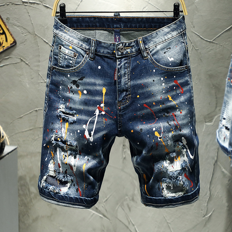 Shorts blue jeans men ripped torn pants stretch five short pants jeans printed male the Summer new fashion hip hop streetwear image