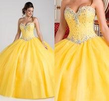 Vestidos amarillos para fiesta de la quinceañera, con cuentas de cristal, 16 vestidos, 15 anos