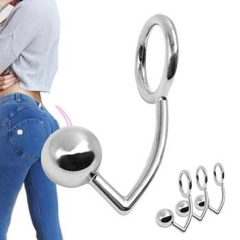 40mm/45mm/50mm Stainless Steel Butt Plug Ball Hole Anal Hook With Penis Cock Ring Metal Chastity Device Sex Toys For Couple hot sale y types female chastity belt stainless steel chastity device with vaginal plug bdsm fetish adult sex toys for women