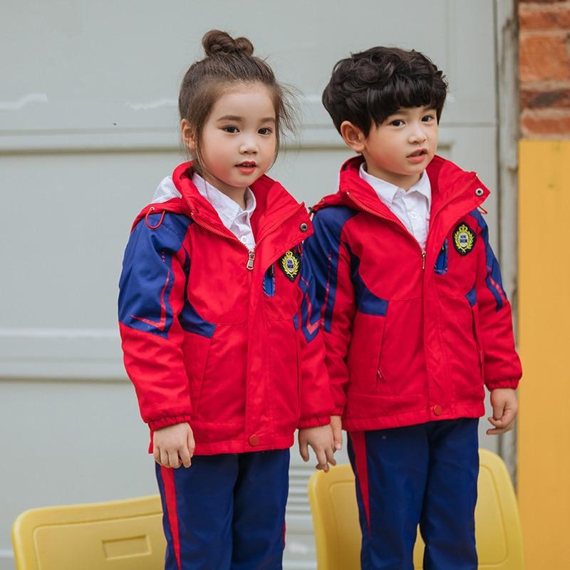 Kaiser 2018 Autumn And Winter New Style Windproof Waterproof Three-in-One Raincoat Jacket Primary School STUDENT'S School Unifor
