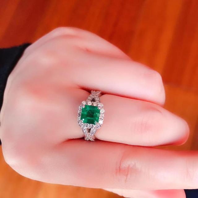 100% Natural  1.5ct Emerald Gemstone 0.58ctw Diamond Female's Wedding Rings for Women Ring Pure 18K White Gold