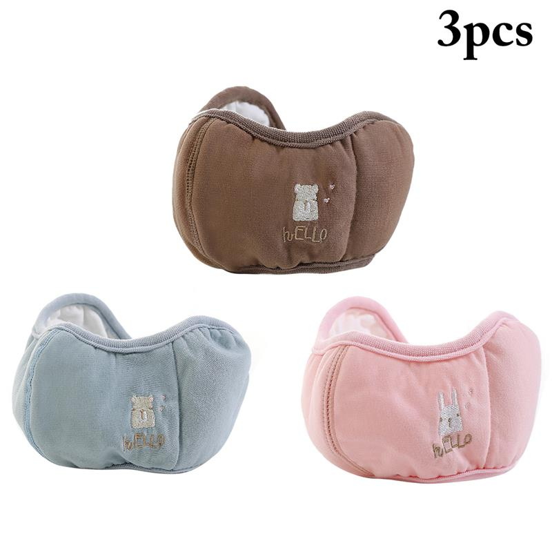 3pcs Warm And Breathable Mouth Mask Dust-Proof Ears-Protective Mouth Cover Half Face Mask For Kids Clothing Accessories