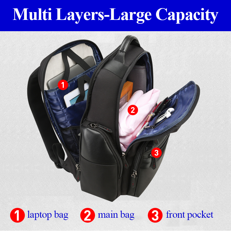 Водонепроницаемый черный нейлоновый кожаный мужской рюкзак большой емкости роскошный рюкзак с отдельной сумкой для ноутбука путешествие на выходные Back Pack - 2
