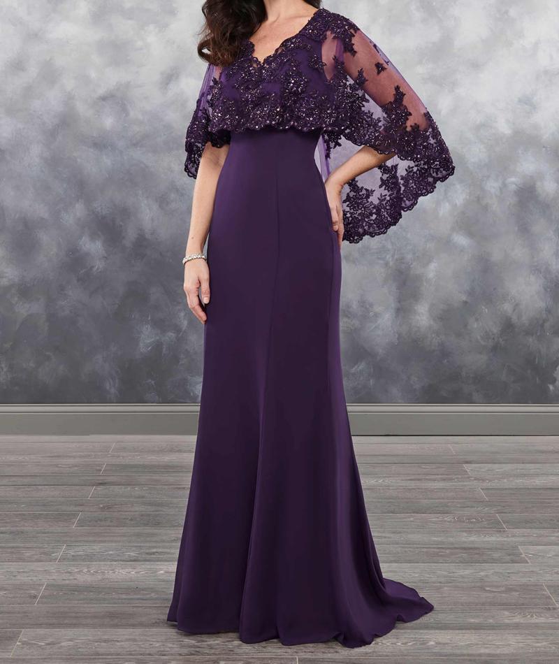 Evening Gown Bolero Sheer Vestido Novia Applique Shining Sequins 2018 Arrival Chiffon Dark Purple Mother Of The Bride Dresses