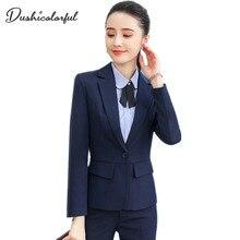 Women pant suits bussiness suit set 2 Pieces Sets Interview Black Solid Elegant Single button blazer Full Length Trousers