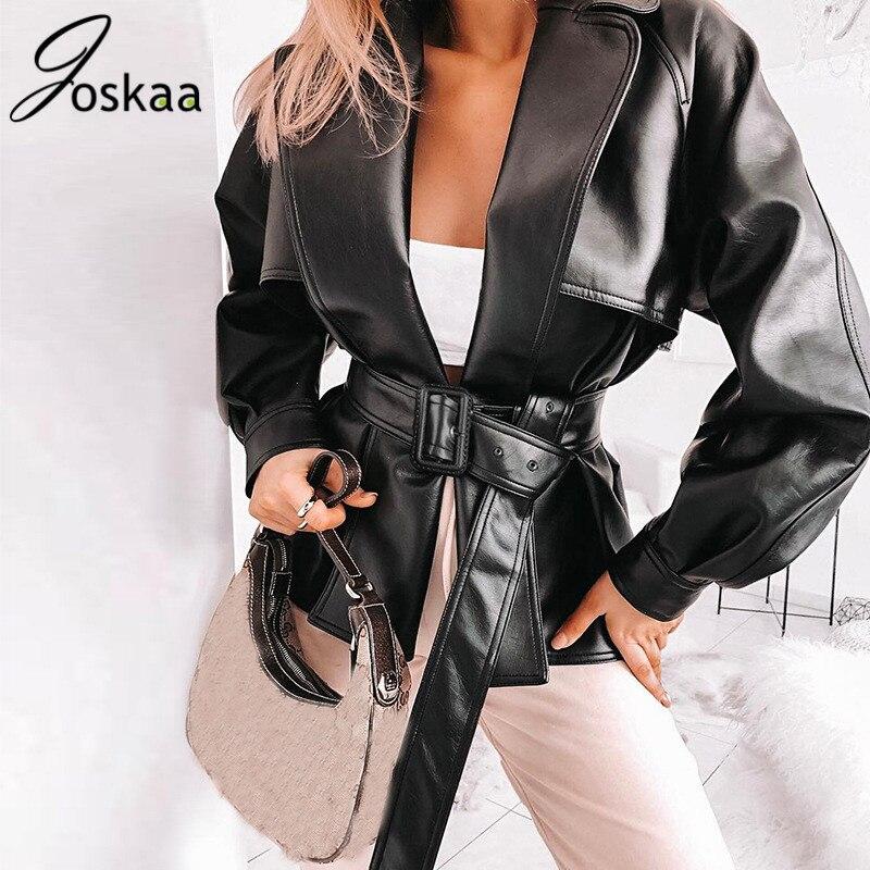 Joskaa 2019 PU Leather Trench Coat Women Slim Moto Black Leather Coat With Belt Turn Down Collar Punk For Women Blusas