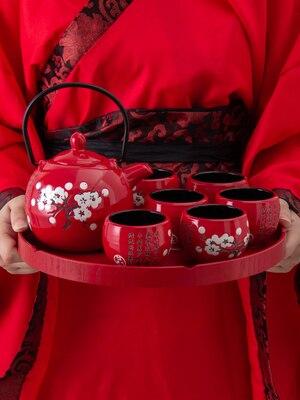 세라믹 매화 차 세트 크리 에이 티브 레드 찻잔 냄비 중국 스타일 결혼 선물 dowry teaware 차가운 물병 쿵푸 홍차 세트