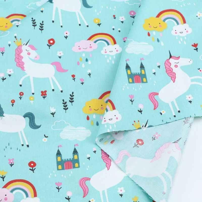 وحيد القرن الأزهار 100% نسيج تويل قطني لتقوم بها بنفسك الملابس فستان للطفل الطفل ، اللحف الخياطة الدهون أرباع النسيج إبرة النسيج