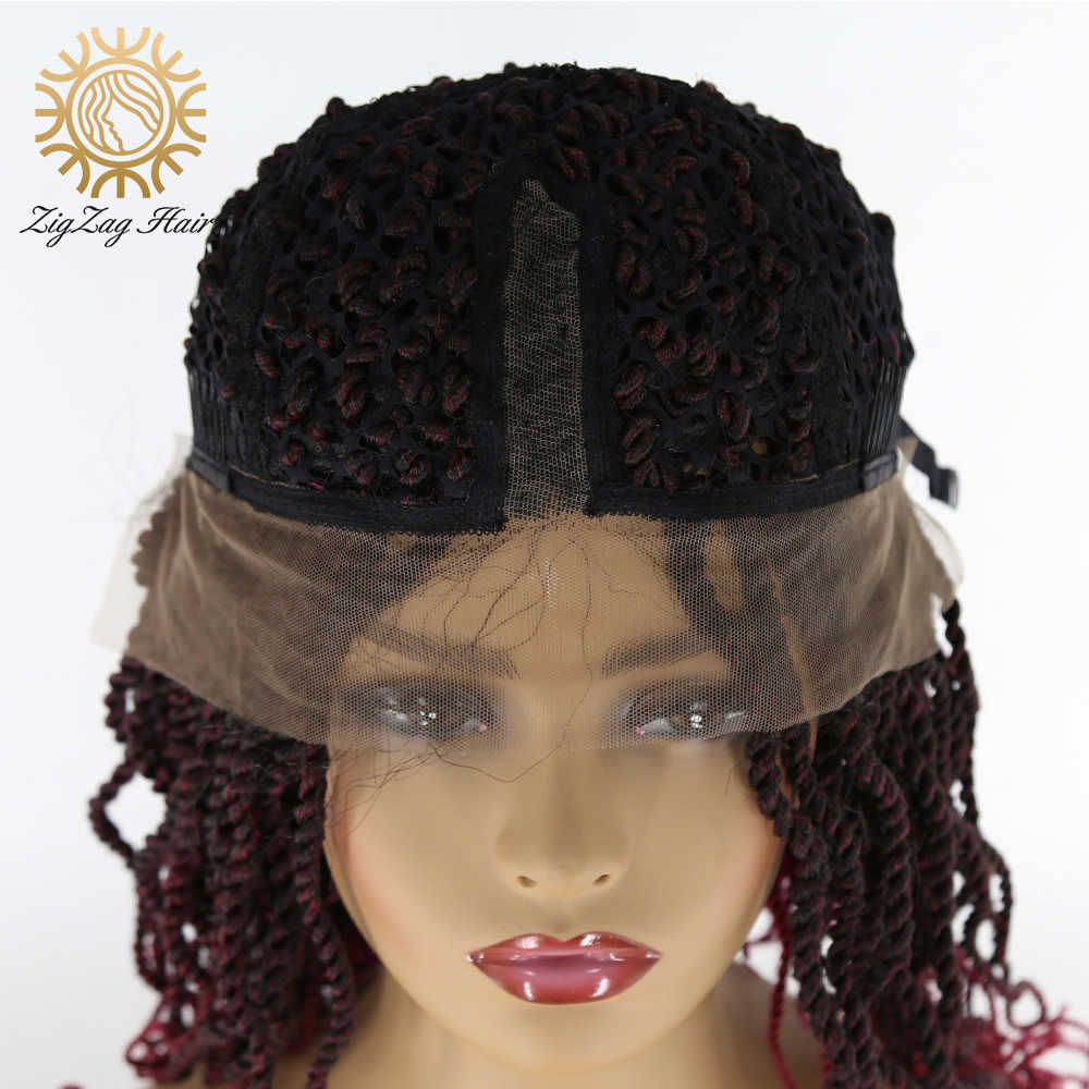 Зигзаг Сенегальский твист вязанные крючком волосы косички без клея синтетический кружевной передний парик для черных женщин Гавана Мамбо твист вязанные волосы