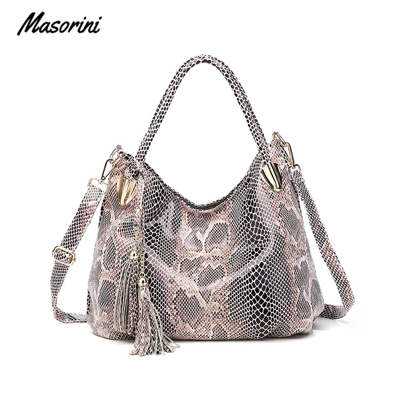Leather Women Shoulder Bag Designer Crossbody Pu Fashion Snake Print Casual  Woman Bag
