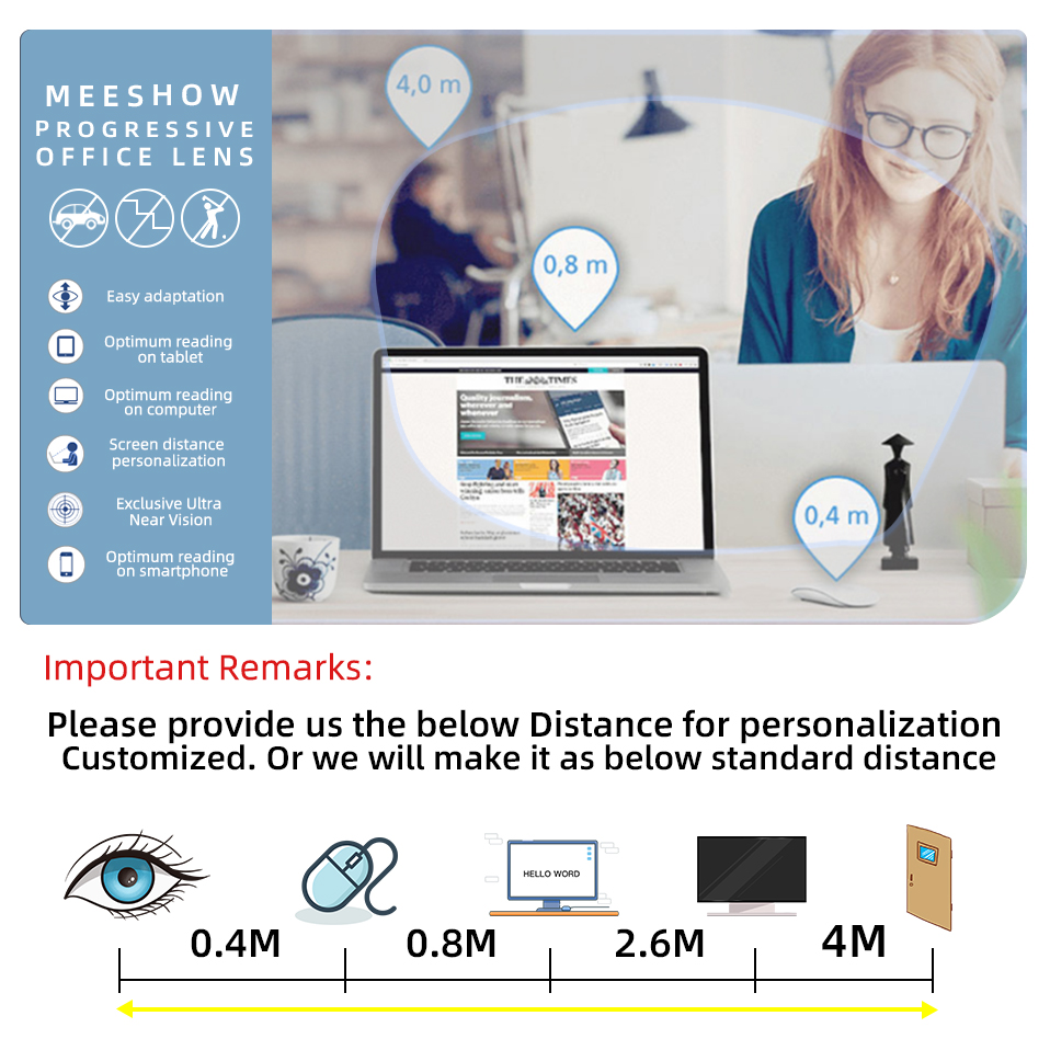 1.56 1.61 1.67 Progressive lenses Office multifocus Lens with Large and Wide Vision Area for Intermediate Distance Computer lens Pakistan