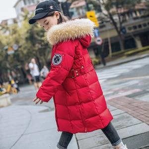 Image 3 - 2020 חורף חם ילדה למטה מעילים ארוך עיצוב ילדים למטה מעיילי מעיל אמיתי פרווה ילדי נער עבה למטה הלבשה עליונה 30 תואר