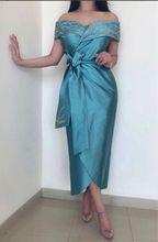 فستان  ميدي أنيق  ازرق بنصف كم