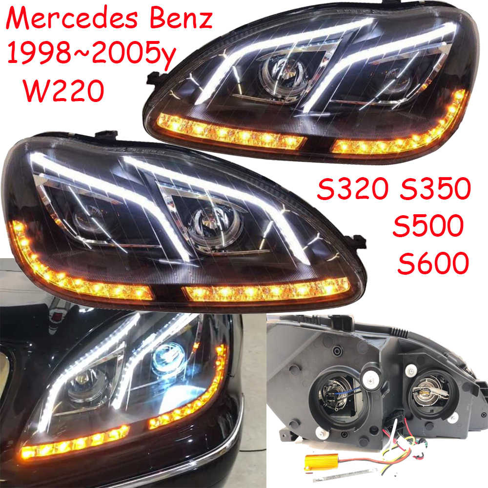 1set 1998~2005 car bumper head light for Mercedes Benz w220 headlight S280 S320 S350 S500 S600 LED DRL HID fog for W220 headlamp