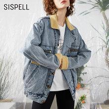 Женское джинсовое пальто с отложным воротником sispell свободное