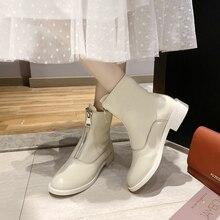 купить Women Zipper Boots Flat Short Ankle Boots Front Zipper Round Toe Martin Boots Black Red Beige Color M31 дешево