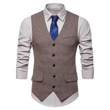 Men Sleeveless V Neck Single-breasted Herringbone Gilet Business Suit Waistcoat