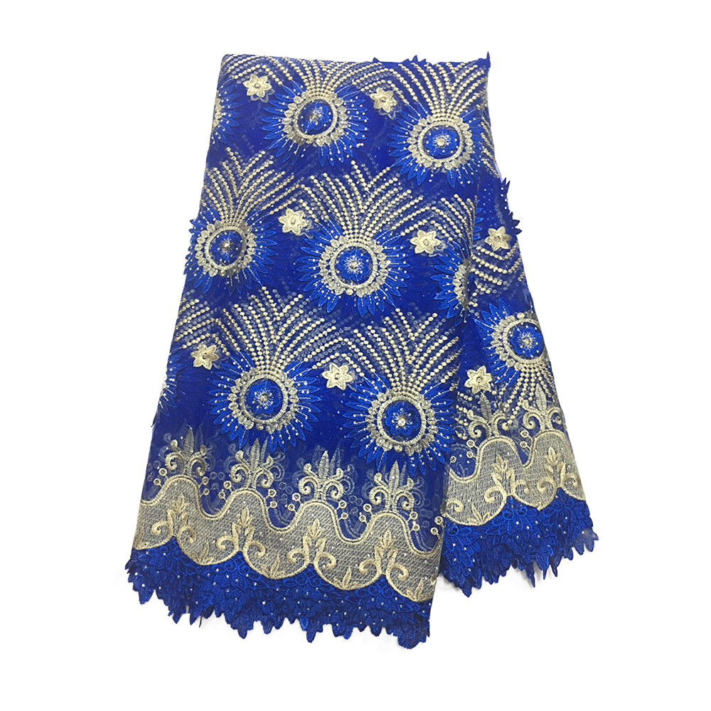 Dark Blue 3D African Lace Fabric For Dress, Tulle French Lace With Stones Embroidered Guipure Water Soluble Nigerian Lace Fabric