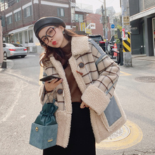Lambswool Coat Plaid MISHOW Vintage Winter Fashion Women Thick Lapel MX19D9579 Buckle