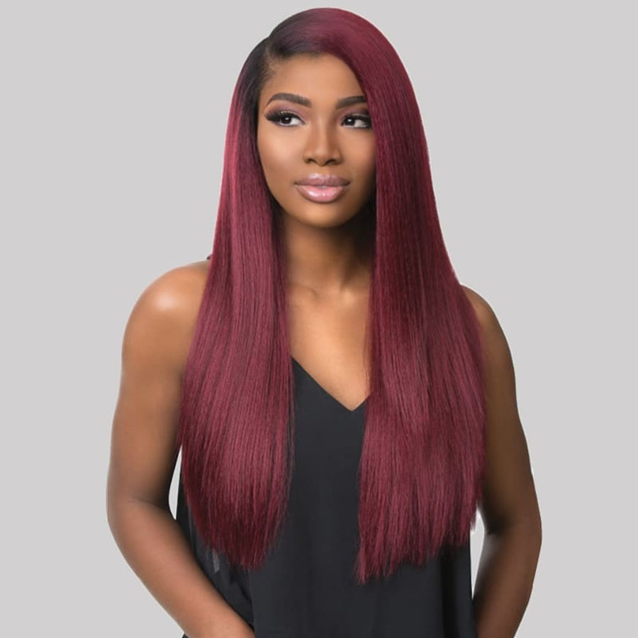 HandTied Ombre Orange Red 1B White Heat Resistant Straight Cosplay Celebrity Girl Wedding Party Synthetic Lace Front Wig 13*4