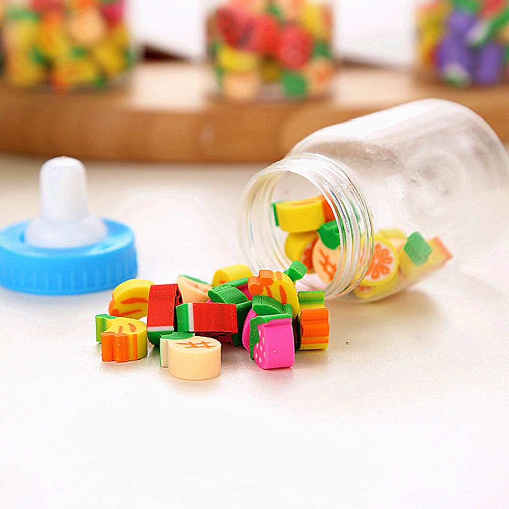 25pcs/set  Mini Cute Kawaii Cartoon Animal Shaped Erasers For Kids School Supplies Creative Gift