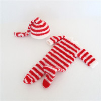 Knitted Baby Clothes for Christmas Red and White Newborn Santa Claus Outfit Baby Footie Newborn Photography Props Newborn Hat