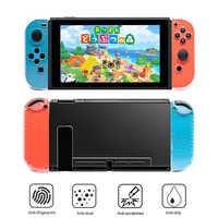 Funda rígida protectora transparente para PC, Parte posterior transparente, antideslizante, carcasa de control Joncon para consola Nintendo Switch NS