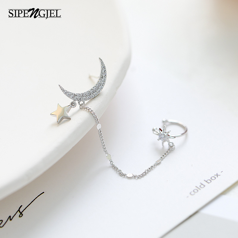 Trendy Cz Crystal Moon Star Ear Cuff Earrings For Women Cute moon and star Earrings Fashion Jewelry 2020