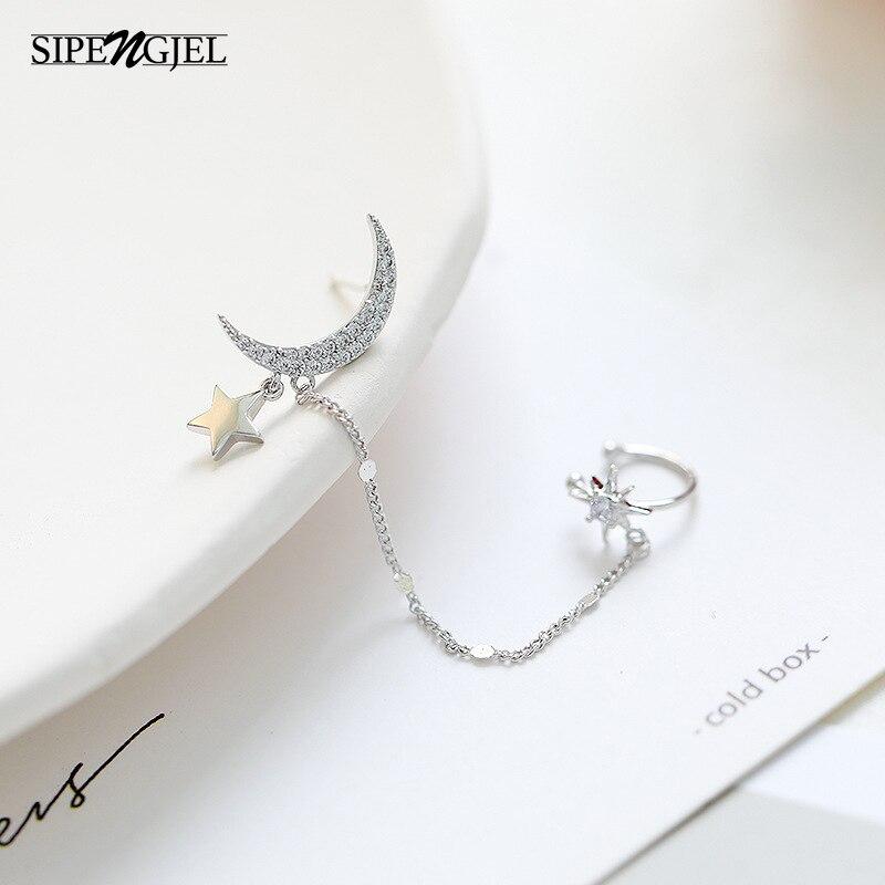 Trendy Cz Crystal Moon Star Ear Cuff Earrings For Women Cute moon and star Earrings Fashion Jewelry 2020