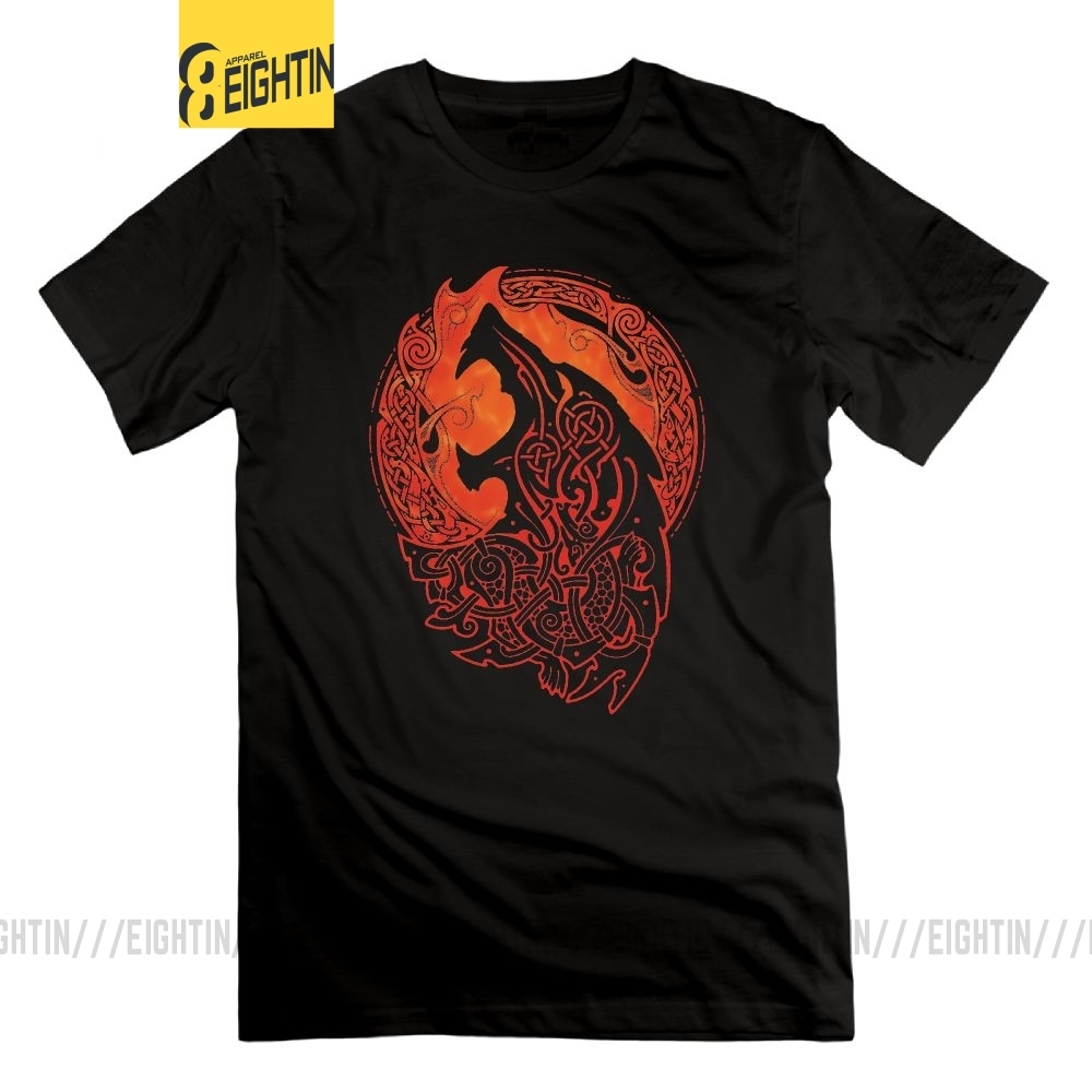 Eightin Viking Valhalla Odin Fenrir Loki's Son Tees Short Sleeves Shirt Round Collar T-Shirt For Men 100% Cotton T Shirt 6XL
