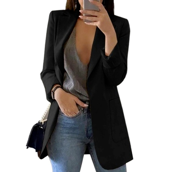 Oversized Long Blazers Women Plus Size Solid Cardigan Spring Long Sleeve Slim Notched Casual Jackets Office Lady Work Black Coat 1