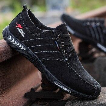 Men shoes 2021 spring men canvas shoes flat casual shoes lace up comfortable breathable shoes man flats size 39-44 2