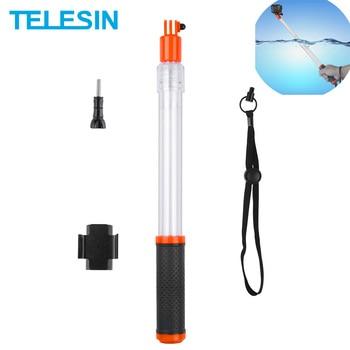 цена на TELESIN Transparent Handheld Divng Waterproof Selfie Stick Floaty Monopod for GoPro Hero 8 7 6 5 For XiaoYI Osmo Action Insta360