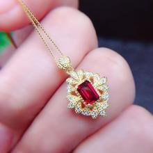 Good natural mozambique garnet pendants color crystal clean S925 silver stone size 4 * 6 mm on the main necklace