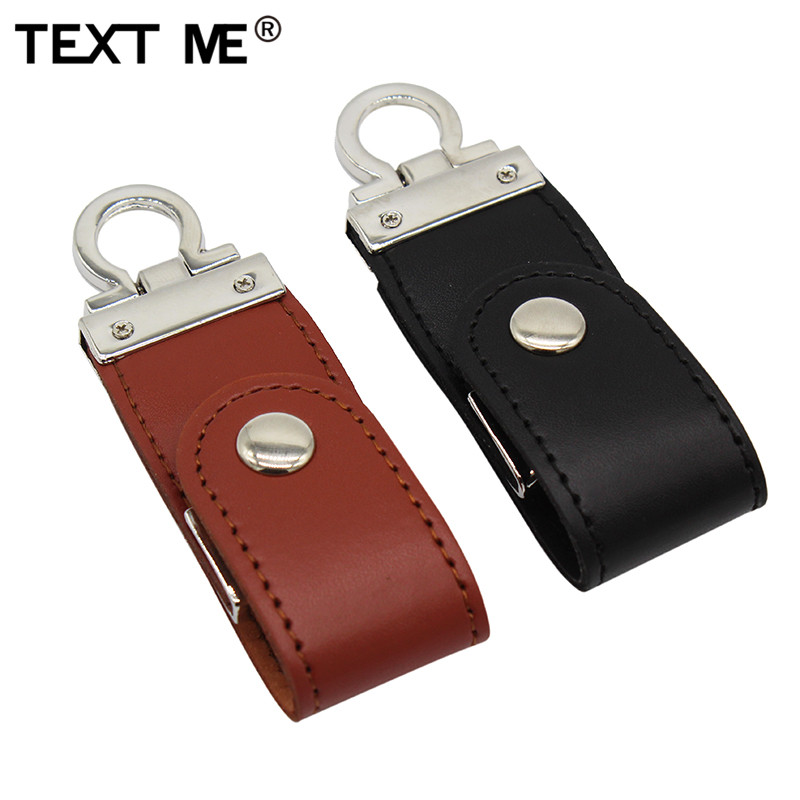 TEXT ME Pendrive Brown Black  Leather With Key Chain 4GB 8GB 16GB 32GB 64GB Style Usb Flash Drive Usb 2.0 Usb Stick