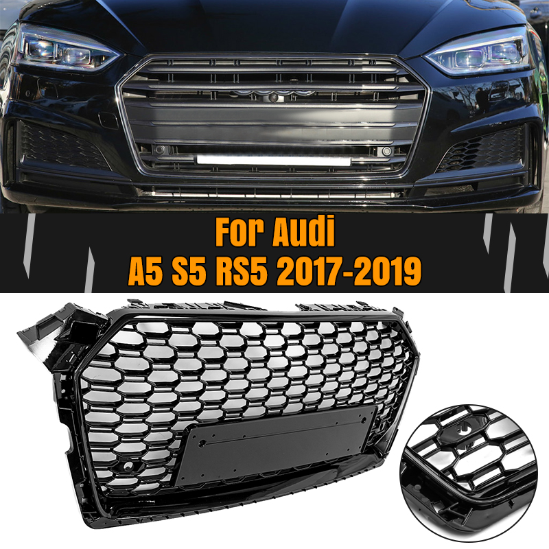 For <font><b>Audi</b></font> <font><b>A5</b></font> S5 RS5 17-19 Racing <font><b>Grills</b></font> Front Sport Hex Mesh Honeycomb Hood <font><b>Grill</b></font> Gloss Black For RS5 Style 2017 2018 2019 image
