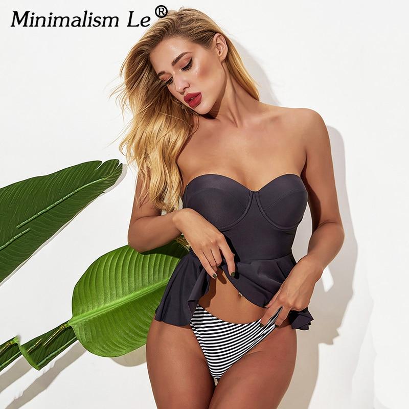 Women Ruffle Bathing Suit Sexy Push Up Swimwear 2020 New Bikini Set Tankini Summer Solid Beachwear Bikinis Female Biquini