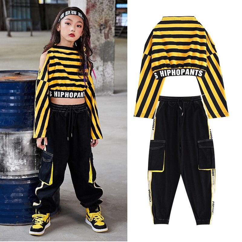 Children Jazz Dance Costumes Yellow Stripe Shirt Pants Jazz Hip Hop Dance Clothing Girls Street Dancewear Stage Outfits DQS3304