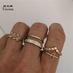 Tocona 5 sztuk/zestawów czeski błyszczący Rhinestone pierścionek w złotym kolorze dla kobiet osobowości geometryczne Party biżuteria akcesoria 15844