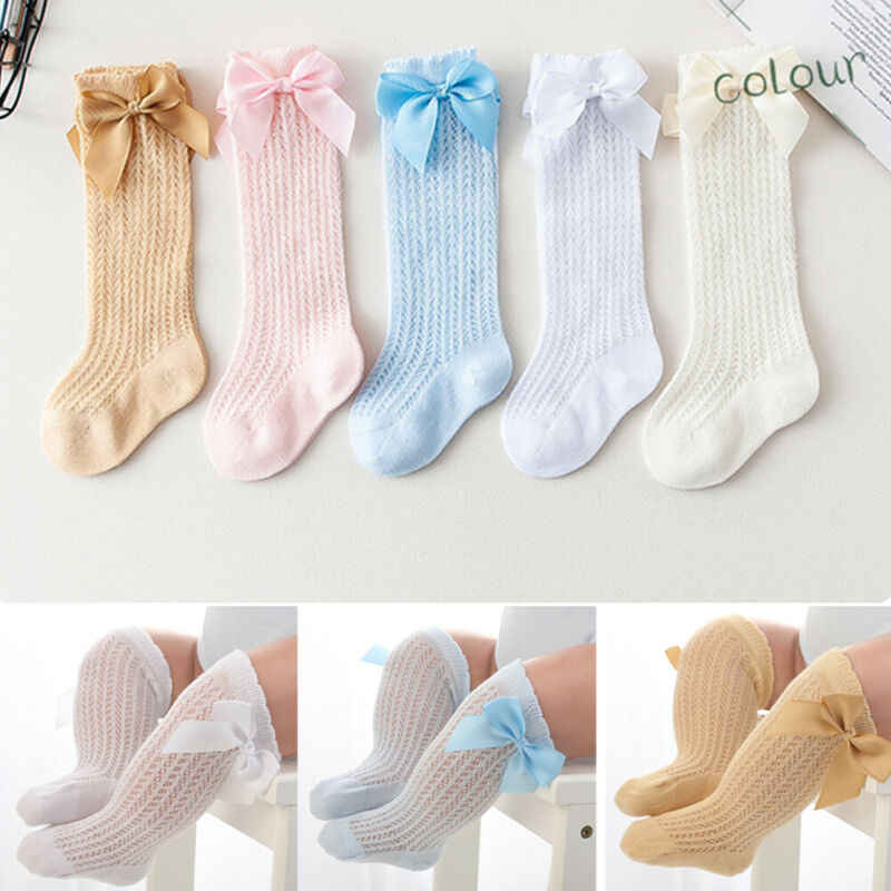 Princess Cute Baby Girls Socks 3/4 Knee High Spanish Style Plain Ribbed Socks Lace Cotton Bow Little Girls Socks 0-3 Years