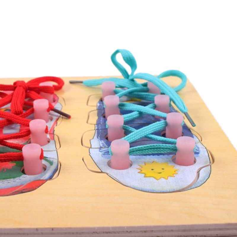 (Pack of 3) Wooden Lacing Shoe Toy Learn to Tie Shoelaces, Fine Motor Skills Toy Threading Toy Board Game for Kids