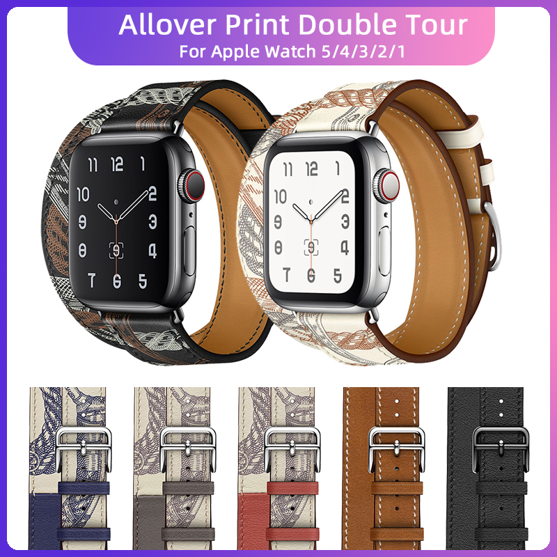 2020 New Noir/Blanc Leather Allover Print Double Tour Band for Apple Watch 40mm 44mm Black Stainless Steel with iwatch 5 4 Strap image