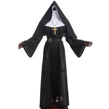 Nun Costume Halloween Demonic Scary Cosplay Adult Women Priest Robes Clothing The Virgin Mary Carnival Costumes(China)